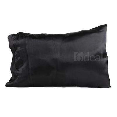2 Satin Standard Pillow Cushion Cover Case Pillowcase Home Decor Black