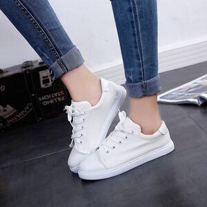 otono-mujer-lona-Puntera-Redonda-Zapatos-Planos-confort-Casual-estudiantes