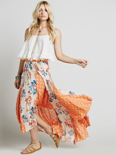 NEW FREE PEOPLE Women Show You Off Sheer  Pleated Retro Long Maxi Skirt XS S M L