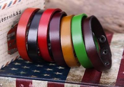 G88 Lot 7pc Plain Single WrapTop Grain Leather Wristband Bracelet Cuff Unisex