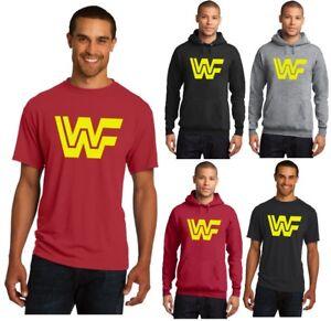 New-WWF-Vintage-Logo-Men-039-s-Tee-T-Shirt-or-Hoodie-Yellow-WWE-WCW-ECW-Old-School