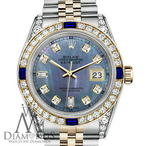 Rolex-SS-amp-18k-26mm-Datejust-Watch-Tahitian-MOP-Dial-with-Sapphire-amp-Diamond
