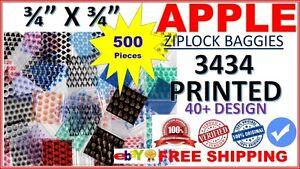 """1000 Mixed Designs Apple Baggies 3//4/"""" x 3//4/"""" mini zip bags 3434"""