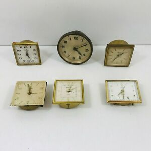 Job-Lot-of-6-Vintage-Travel-Alarm-Clocks-Spares-amp-Or-Repairs-Restoration-Project