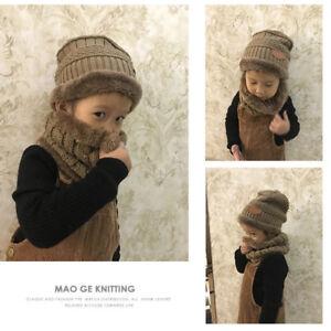 03ec5ef14a5 Enfant Garçon Ensemble Bonnet + Écharpe Tricot Peluche Épais Chapeau ...