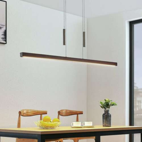 LED-Pendellampe Tamlin Holz Dunkelbraun Lampenwelt Höhenverstellbar Balken Küche