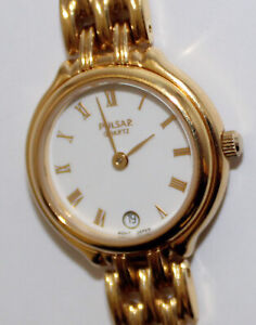 Pulsar Quartz ladies wrist watch V789-XO19 date used working condition gold colo