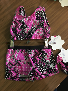 New Gymnastic Dance cheer crop top set age 9-10 (30 )by Snowflake-Pink Medley