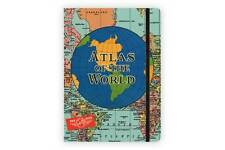 "Cavallini & Co. 6"" X 8"" Atlas of the World Notebook, Travel Journal, 144 Pages"
