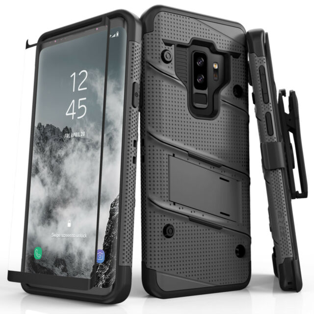 separation shoes 3340b 464ed Zizo Bolt Samsung Galaxy S9 Plus Case Full Curved Glass Screen Protector  Gray