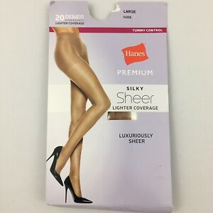 Hanes-Premium-Nude-Silky-Sheer-Control-Top-Pantyhose-Size-Large-Denier-20