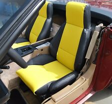 CHEVY CORVETTE C4 TYPE3 1984-1993 BLACK/YELLOW S.LEATHER CUSTOM FIT SEAT COVER