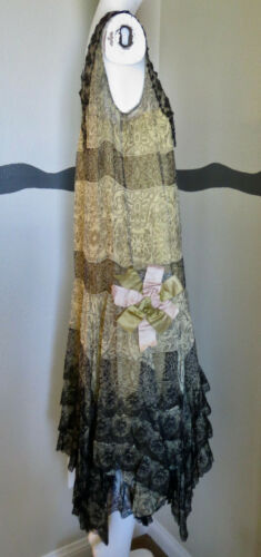 Vintage 1920s Dress Flapper Silk & Silk Chiffon Pr