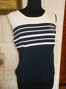 Tee-shirt-top-debardeur-ss-manches-marin-UN-JOUR-AILLEURS-T-2-38-40-ancre-strass