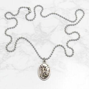 Patron-Saint-St-Michael-The-Archangel-1-034-Medal-Pendant-Necklace-24-034-Chain-Italy