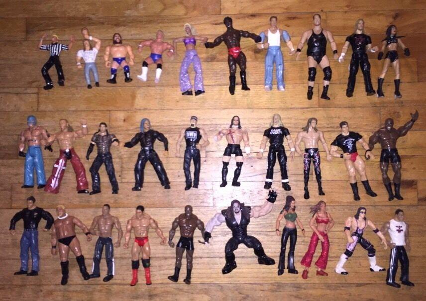 WWF WWE Mattel Lot Of 30 Used Wrestling Figures TNA WCW ECW NWO W/ Hulk Hogan