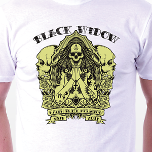 Image Is Loading Black Widow T Shirt Skulls Witch Death Goth