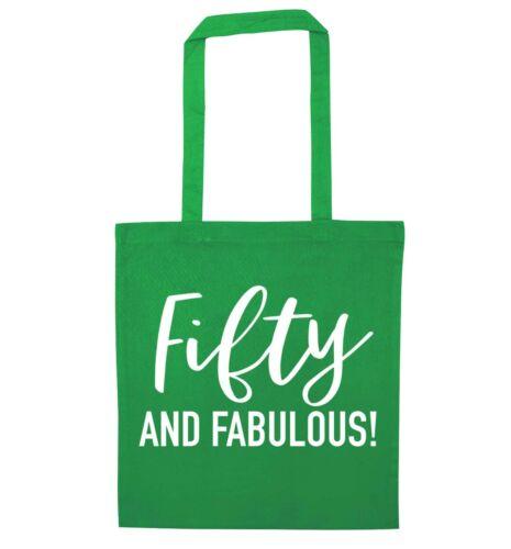 tote bag birthday 50th celebration keepsake gift bag 6022 Fifty and fabulous