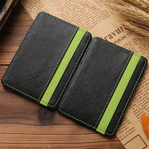 Men/'S GIFT Magic credito ID Card elastico Soldi Clip Portafoglio Slim cassa verde UK