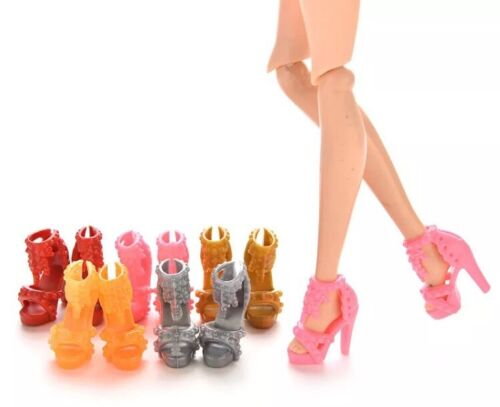 Barbie Doll 10 Pairs Of High Heel Shoes Lot Random Colors Accessories US Seller