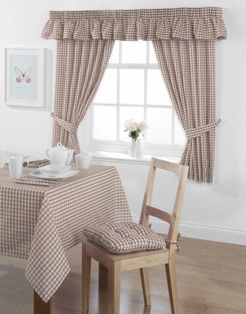 Vichy carreaux cuisine rideaux ou cantonnière country look prêts et plis serrés