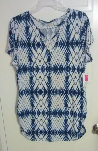 Bobbie Brooks Woman/'s Neck Detail Tunic Top White w Blue Print Plus Size 2X