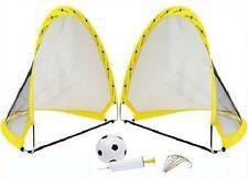 Instant Pop Up Portable Football Soccer Goals Nets, Ball, Pump & Pegs Kids Child