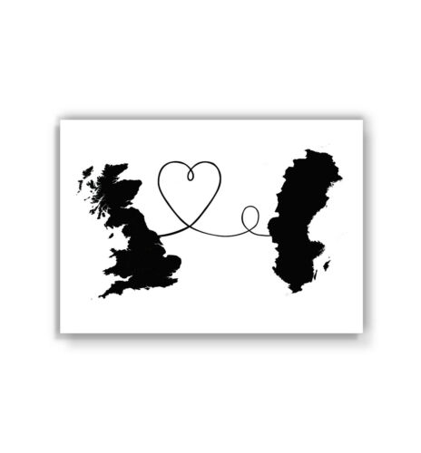 poster Swedish British art greyscale print Britain to Sweden travel