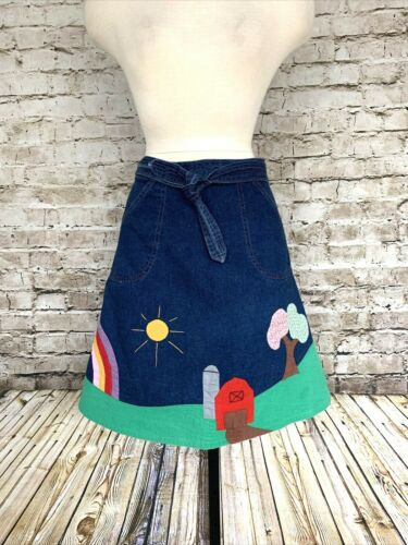Vintage Rare Denim Wrap Skirt With Applique Farm S