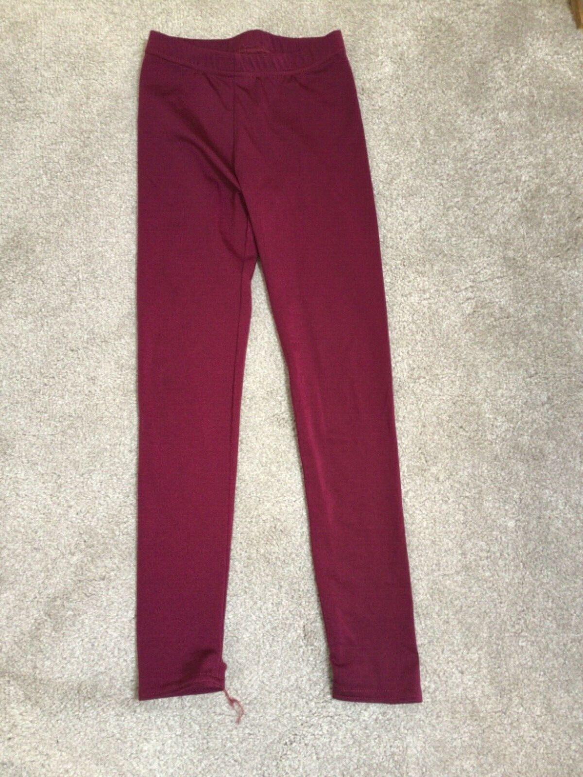 Girls shiny burgundy dance stirrup leggings 6-7 years