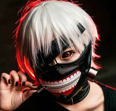Tokyo Ghoul Kaneki Ken Adjustable zipper Cosplay Mask Eye patch Wig Halloween