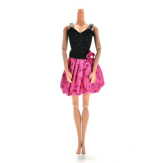 1 Stück schwarz Rose Sling Kleider für s Prinzessin Puppen 13cm Länge XM
