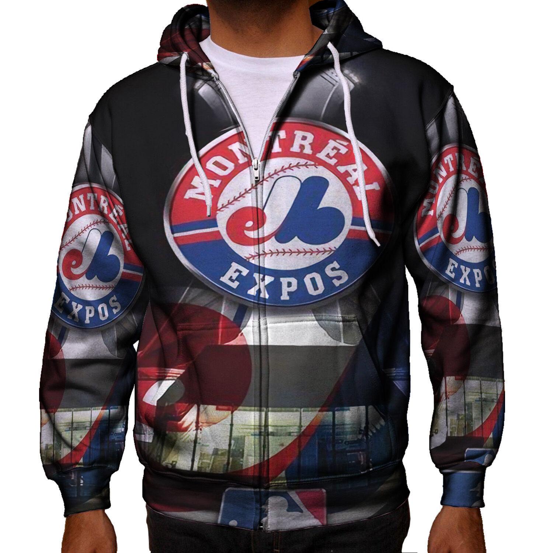 Montreal Expos Baseball Team Men's Zipper Hoodie