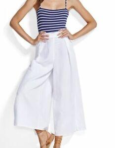 Seafolly-Womens-size-XS-Pants-Cropped-White-Beach-Wide-Split-Leg-Linen-Blend