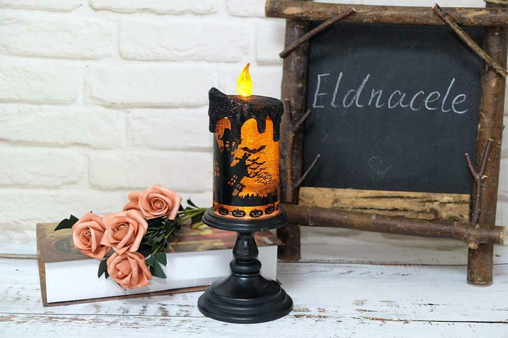 Eldnacele Halloween Snow Globe Candles Lighted Lamp Battery Operated...