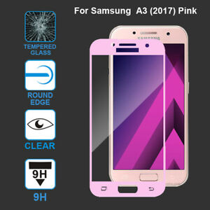 buy online 507f3 305bc Details about Pink Full Cover Tempered Glass Screen Protector For Samsung  Galaxy A3 2017