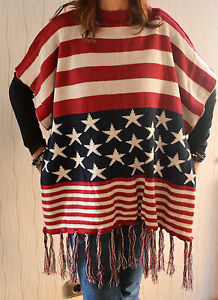 gebreid Usa dubbellaags Stars Mooie Stripes omslag Poncho Oversized wx6xH8a0