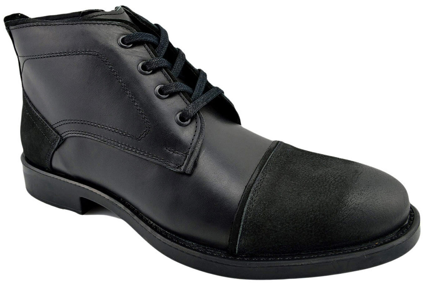 230 OVATTO Black Calf & Suede Leather Ankle Boots Men shoes NEW COLLECTION