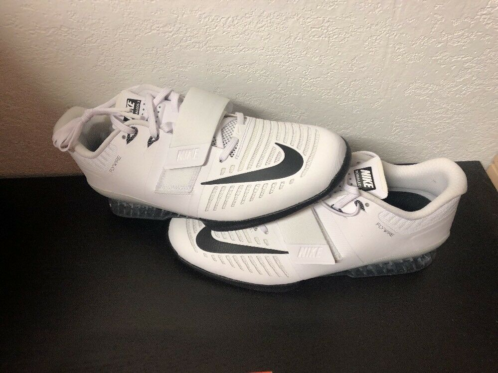 NIKE ROMALEOS 3 WEIGHTLIFTING SHOES WHITE-BLACK-VOLT 852933-100 Sz 12