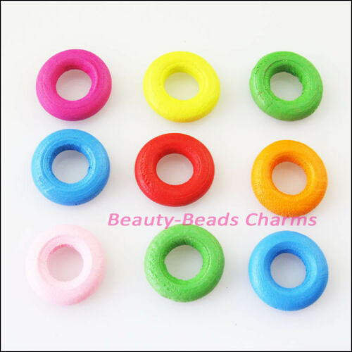 25Pcs Mixed Craft Wood Wooden Round Circle Spacer Beads Charms 15mm