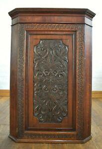 Antique rustic farmhouse carved oak wall mounted corner cupboard / cabinet