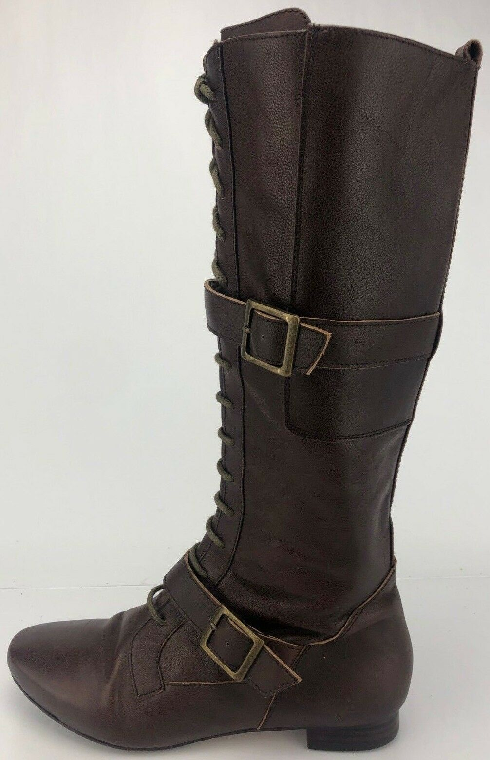Free People Faryl Robin Knee High Boots Lance Zip Lace Up Buckle Womens 7 Brown