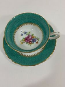 Grosvenor-Bone-China-Teacup-And-Saucer-Floral-With-Teal-Band-And-Gold-Gilding