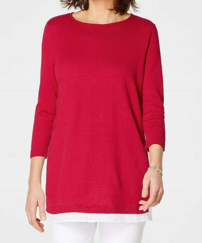 J Jill XL Lightweight Sweater Top rot Weiß Linen Cotton Mixed Media NEW Relaxed