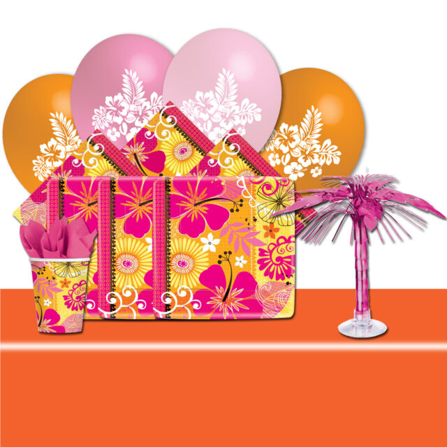 Deluxe Tropical Summer Hawaiian Paradise BBQ Garden Party Tableware Pack For 16
