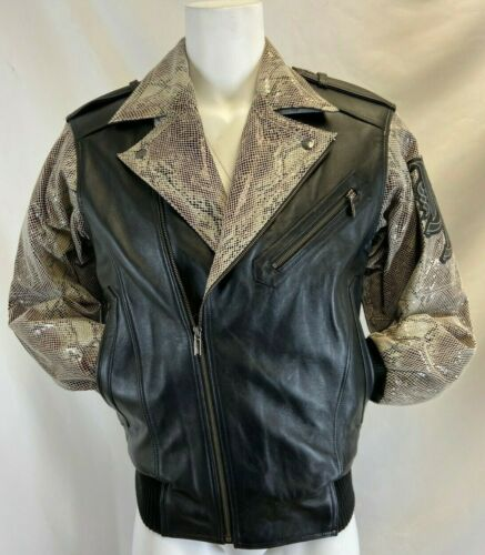 Pelle Pelle Men's Leather Jacket Black With Snake Pattern Retail $ 930.00 NWT