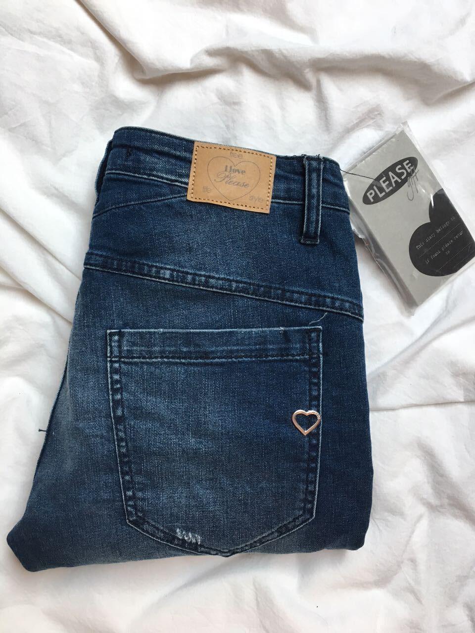 NEU PLEASE Jeans mit Etikett blau XS Hose inkl. Notizblock von Please