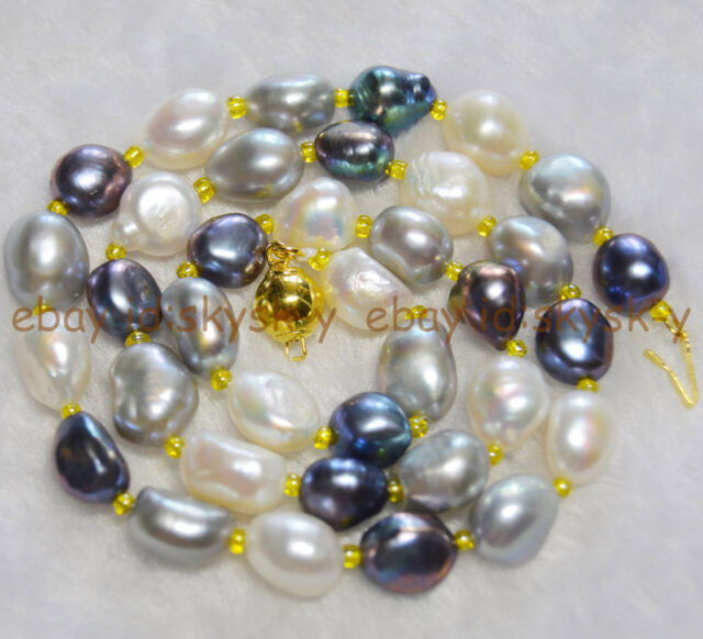 """9-10mm Natural Baroque Multi-colored freshwater pearl necklace 18"""""""