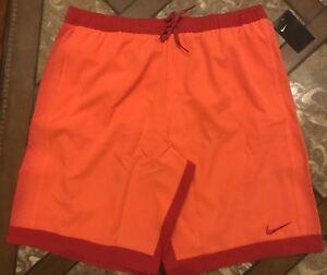 "b17518815a Nike 11"" Racer Volly Swim Shorts Trunks Orange Red Men's Size XXL ..."