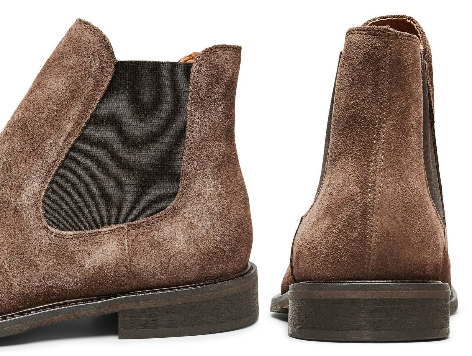 Selected Cocoa Homme Chelsea Boots High Shoes Cocoa Selected Brown Suede Leather Smart Boot 248fb4